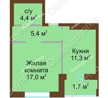 1 комнатная квартира 39,8 м² - Жилой дом: в квартале улиц Вольская-Витебская