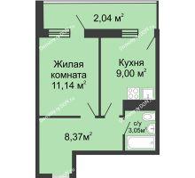 1 комнатная квартира 33,6 м² - ЖК Центральный-2