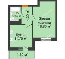 1 комнатная квартира 40,6 м² в ЖК Я, дом  Литер 2 - планировка