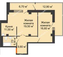 2 комнатная квартира 69,3 м² в ЖК Взлетная 7, дом 1-2 корпус - планировка