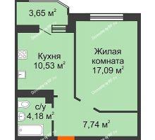 1 комнатная квартира 41,37 м² в ЖК Губернский, дом Литер 29 - планировка