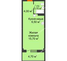 Студия 34,6 м² в ЖК Три Сквера (3 Сквера), дом № 31 - планировка