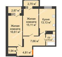 2 комнатная квартира 65,78 м² в Макрорайон Амград, дом №1 - планировка
