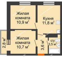 2 комнатная квартира 41,34 м² в ЖК Корабли, дом № 10 - планировка