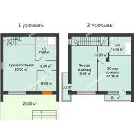 2 комнатная квартира 91 м² в Клубный посёлок Панорама, дом Гангутская, 10 (таунхаусы 91м2) - планировка