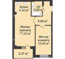 2 комнатная квартира 45,11 м² в ЖК Соловьиная роща, дом № 4 - планировка