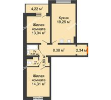 2 комнатная квартира 66,03 м², ЖК Инстеп.Победа - планировка