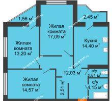 3 комнатная квартира 83,77 м² в Микрорайон Красный Аксай, дом Литер 21
