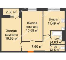 2 комнатная квартира 58,96 м², ЖК На Высоте - планировка
