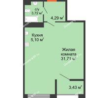 1 комнатная квартира 46,52 м² в ЖК Олимп, дом Литер 1 - планировка