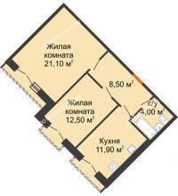 2 комнатная квартира 58 м², Жилой дом: г. Дзержинск, ул. Кирова, д.12 - планировка