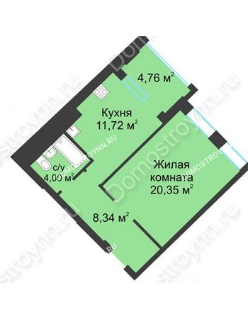 1 комнатная квартира 46,79 м² в ЖК Воскресенская слобода, дом №1