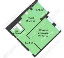 1 комнатная квартира 46,79 м² в ЖК Воскресенская слобода, дом №1 - планировка