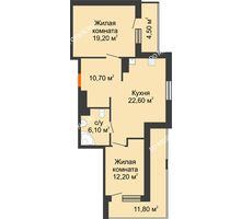 2 комнатная квартира 78,95 м² в ЖК Корица, дом № 1 - планировка