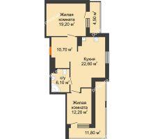 2 комнатная квартира 78,95 м², ЖК Корица - планировка