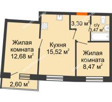 2 комнатная квартира 45,91 м² в ЖК Ватсон, дом № 3А - планировка