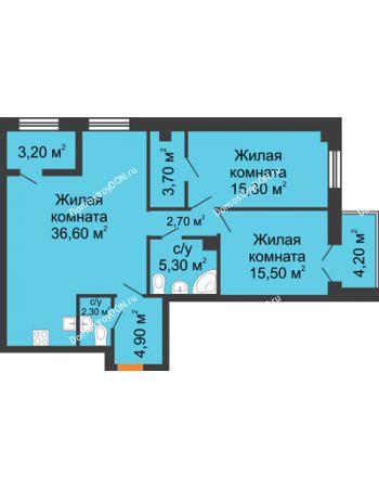 3 комнатная квартира 90,1 м² - ЖК Дом на 18-й Линии, 3
