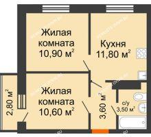 2 комнатная квартира 40,4 м² в ЖК Торпедо, дом № 1