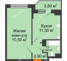 1 комнатная квартира 39 м² в ЖК Перспектива, дом Литер 3.5 - планировка