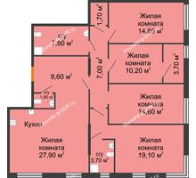5 комнатная квартира 111,7 м², ЖК Островский - планировка
