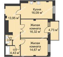 2 комнатная квартира 68,96 м² в ЖК Премиум, дом №1