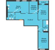 3 комнатная квартира 125,6 м² в ЖК 120 квартал, дом 2 очередь - планировка