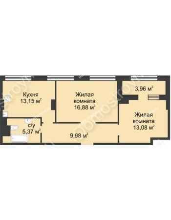 2 комнатная квартира 60,24 м² в ЖК Караваиха, дом № 5