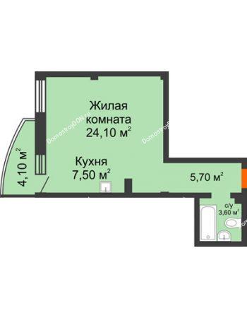1 комнатная квартира 42,1 м² - ЖК Южная Башня