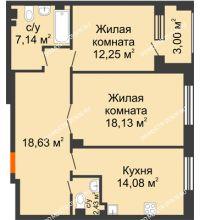 2 комнатная квартира 74,16 м², Дом премиум-класса Коллекция - планировка