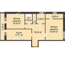 2 комнатная квартира 102,51 м², ЖК Дом на Троицкой - планировка
