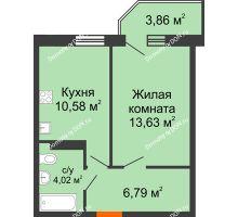 1 комнатная квартира 36,33 м² в ЖК Свобода, дом № 1 - планировка