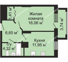 1 комнатная квартира 42,26 м², ЖК Гелиос - планировка