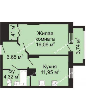 1 комнатная квартира 42,26 м² - ЖК Гелиос