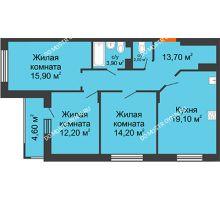 3 комнатная квартира 83,4 м² в ЖК Цветы 2, дом № 4 - планировка
