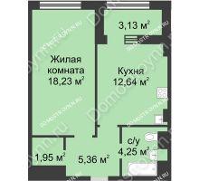 1 комнатная квартира 44 м² в ЖК Караваиха, дом № 5 - планировка