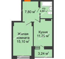1 комнатная квартира 42,14 м², ЖК Галактика - планировка