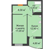 1 комнатная квартира 43,4 м² в ЖК Дружный, дом Литер 2.3 - планировка