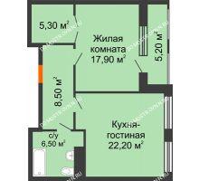 1 комнатная квартира 63,61 м² в ЖК Георгиевский, дом 2а - планировка