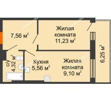 2 комнатная квартира 44,02 м² в ЖК Днепровская Роща, дом № 1 - планировка