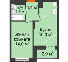 1 комнатная квартира 39,65 м² в ЖК Заречье, дом № 1, секция 1 - планировка