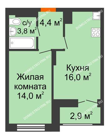 1 комнатная квартира 39,65 м² в ЖК Заречье, дом № 1, секция 1