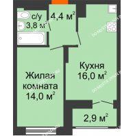 1 комнатная квартира 39,65 м² в ЖК Заречье, дом №1, секция 2 - планировка