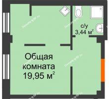 1 комнатная квартира 27,7 м² в Микрорайон Новая жизнь, дом позиция 19 - планировка