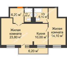 2 комнатная квартира 69 м² в ЖК Жюль Верн, дом № 1 корпус 1 - планировка