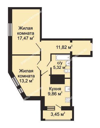 2 комнатная квартира 59,4 м² в ЖК Солнечный, дом № 5 - Гелиос