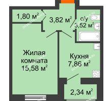 1 комнатная квартира 32,58 м² в ЖК Москва Град, дом 60/1 - планировка
