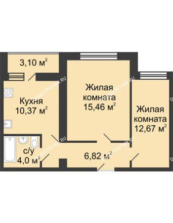 2 комнатная квартира 50,87 м² в ЖК Удачный, дом № 4