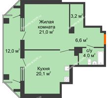 1 комнатная квартира 60,9 м² - ЖК на ул. Греческого Города Волос, 82