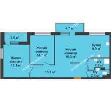 3 комнатная квартира 79,1 м², ЖК Дом мечты - планировка
