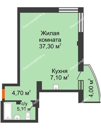 1 комнатная квартира 55,4 м² - ЖК Южная Башня
